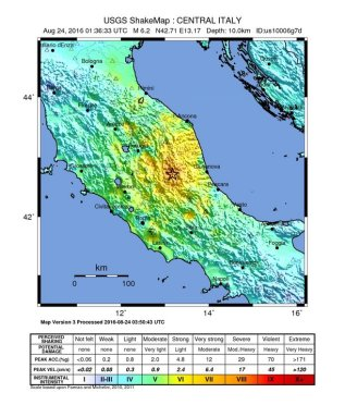 M 6.2 Italy earthquake shake map (USGS)