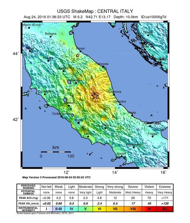 M 6.2 Italy earthquake shake map (USGS)