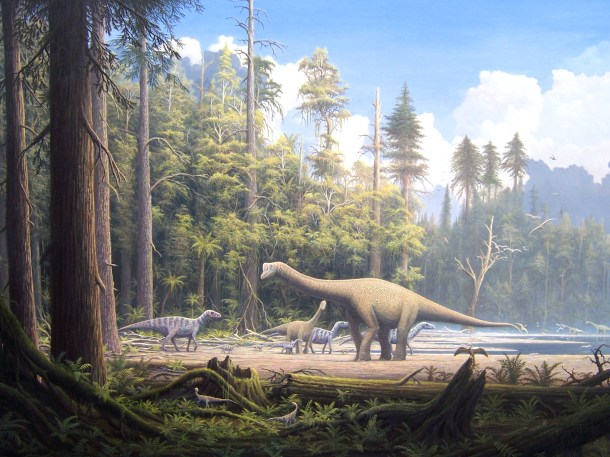 Conifer forests of the Mesozoic providing tasty snacks for hungry herbivores.