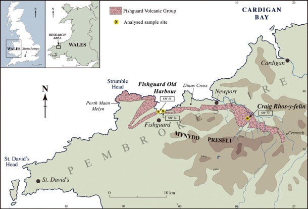 Map showing the outcrop of the Fishguard Volcanic Group across north Pembrokeshire. Based on compilation by British Geological Survey (2010)