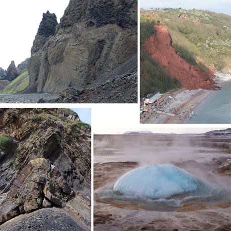 2015's 2nd place, 'Hafrahvammar Canyon, Iceland' by John Schroder (Top Left), 3rd, 'Dramatic Cliff Failure of Permian Red Beds at Babbacombe near Torquay' by Scott O'Neil Gwilliams (Top Right), Highly Commended 'Strokkur Geysir, South Iceland' by Fiona Townley (Bottom Right) and 'Whaleback Fold, Bude, Cornwall' by Tim Wright (Bottom Left)