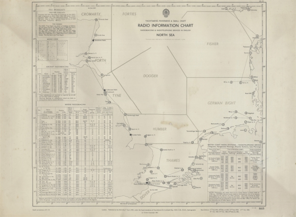 07-163 1961 North Sea Radio Information Chart