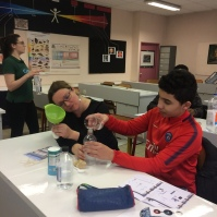 Creating CO2 with vinegar and bicarbonate of soda.