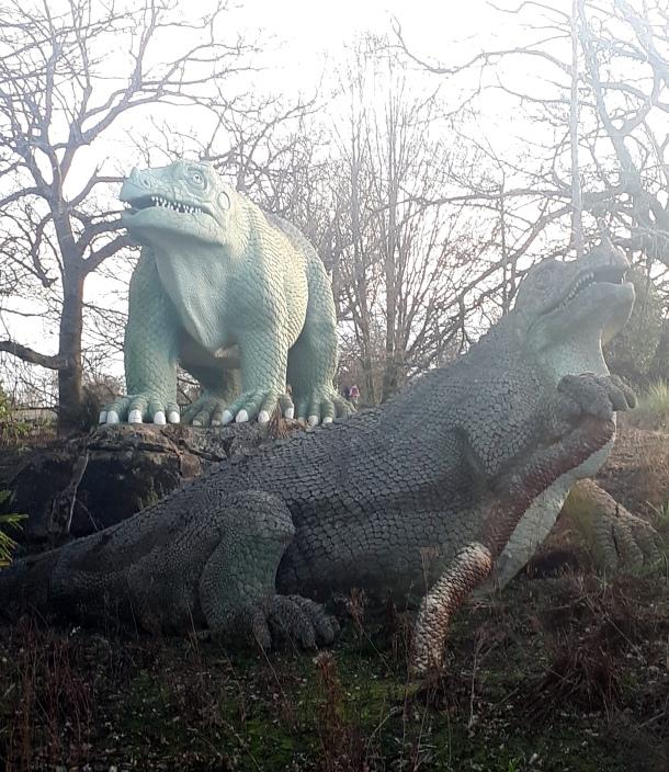 Iguanodons at Crystal Palace Park, 2021