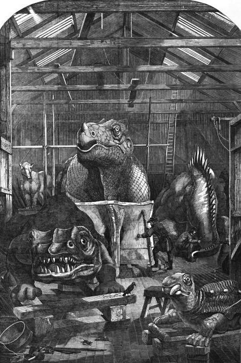Sketch of Benjamin Waterhouse Hawkins's iguanodon still in its cast.